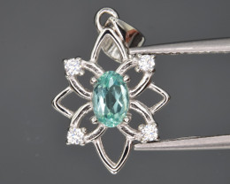 Natural Apatite ,CZ  and 925 Silver Pendant with Chain