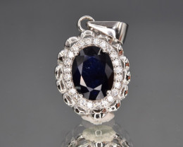 Natural Sapphire , CZ  and 925 Silver Pendant with Chain