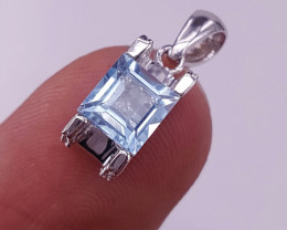 Natural Topaz and CZ Pendant