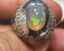 Natural Ethiopian Opal Ring .