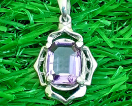 Natural Amethyst 925 Silver Pendent
