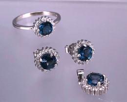 London BLUE TOPAZ 925 Silver Set by DANI Jewellery    J : 32