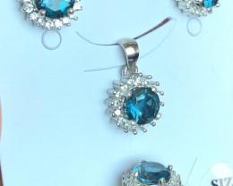 London BLUE TOPAZ 925 Silver Set by DANI Jewellery