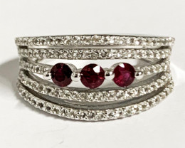 Stylish Modern 0.33 Ct Natural Ruby And Topaz Ring ~ Silver