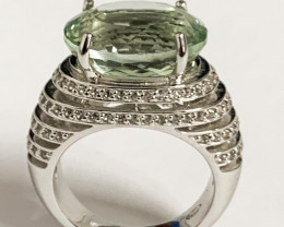 Gorgeous Stylish  20.00 Ct Natural Green Amethyst And Topaz Ring ~ Silver