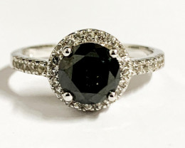 Natural Black Diamond 1.86 Ct And Topaz Ring ~ Silver