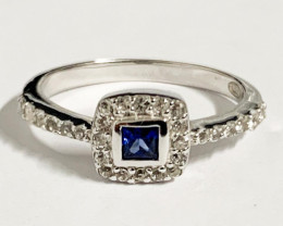 Stylish 0.16 Ct Natural Blue Sapphire And Topaz Ring ~ Silver