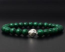 Genuine 116.00 Cts Malachite  Beads Bracelet
