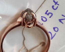 Natural solitiare u argyle uncut pink purple 1.05 ctw size diamond ring