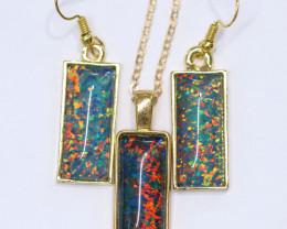 Elongated  Synthetic Opal earrings & pendant CCC 1722