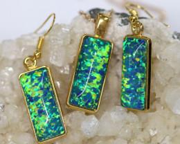 Elongated  Synthetic Opal Earrings & Pendant CCC 17