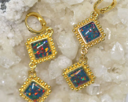 Diamond Shape  Synthetic Opal Earrings   CCC 1726