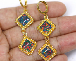 Diamond Shape  Synthetic Opal Earrings   CCC 1728