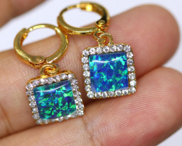 Diamond Shape  Synthetic Opal Earrings   CCC 1730