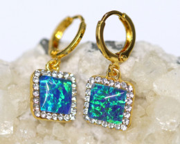 Diamond Shape  Synthetic Opal Earrings   CCC 1731