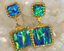 Dual Cute  Synthetic Opal Earrings   CCC 1733