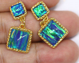 Dual Cute  Synthetic Opal Earrings   CCC 1736