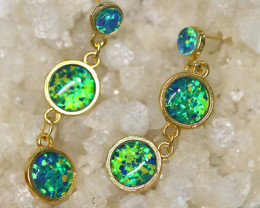 Triple Round  Cute  Synthetic Opal Earrings   CCC 1746