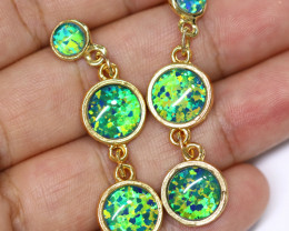 Triple Round  Cute  Synthetic Opal Earrings   CCC 1748