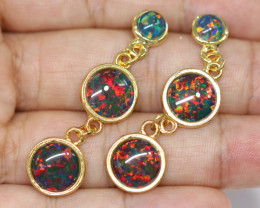 Triple Round  Cute  Synthetic Opal Earrings   CCC 1751