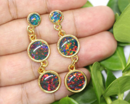Triple Round  Cute  Synthetic Opal Earrings   CCC 1753