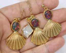 Australian Sea Collection Baroque Pearl & Opal Shell Set CCC 1757
