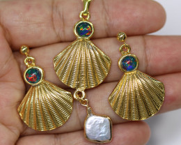 Australian Sea Collection Baroque Pearl & Opal Shell Set CCC 1763