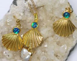 Australian Sea Collection Baroque Pearl & Opal Shell Set CCC 1764