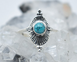TURQUOISE RING 925 STERLING SILVER NATURAL GEMSTONE JR1088