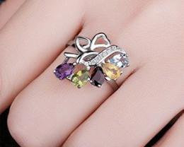 Genuine Gemstone Cocktail Ring-Sterling