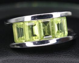 Natural Peridot, & 925 Silver Ring