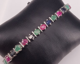 Natural Sapphire With Ruby And Emerald Bracellet
