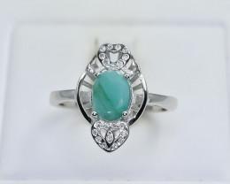 13.77 Crt Natural Emerald 925 Silver Ring