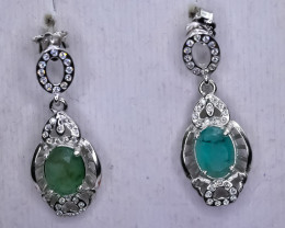 14.79 Crt Natural Emerald 925 Silver Earrings