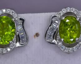 34.30 Crt Natural Peridot 925 Silver Earrings