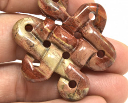 82.0 Carat Jasper Chinese Knot Pendant Stone - Beautiful