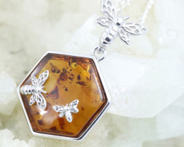 Natural Baltic Amber Sterling Silver Pendant code GI 1087