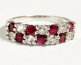 Modern  Style Natural Ruby And Topaz Ring ~ Silver