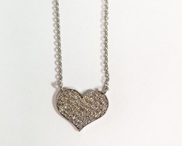 Modern  Heart Sterling Silver 925 Necklace