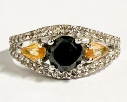 Stylish 0.91 Ct Natural Black Diamond, Sapphire And Topaz Ring ~ Silver