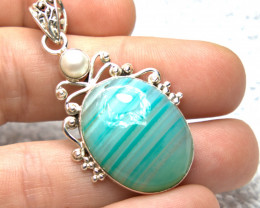 49.5 Tcw. Agate / Pearl / Sterling Silver Pendant - Gorgeous