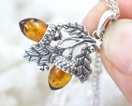 Natural Baltic Amber Sterling Silver Pendant code GI 1167