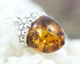 Natural Baltic Amber Sterling Silver Pendant code GI 1180
