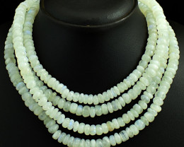 Genuine 1049.00 Cts 4 Line Moonstone  Beads Necklace
