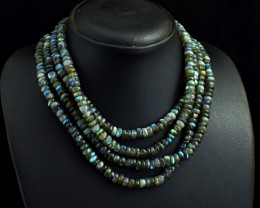 Genuine 759.00 Cts 4 Line Labradorite Beads Necklace