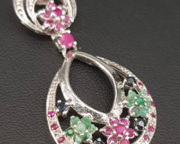Natural Emerald Ruby and Sapphire Pendant