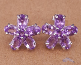 Natural Amethyst and CZ Earrings