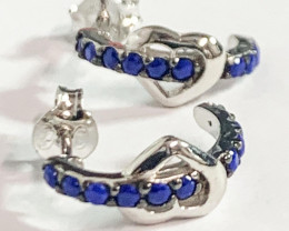Silver 925  Blue Stone Heart  Earring