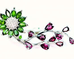 Natural Chrome Diopside , Rhodolite ,CZ Amazing 925 Silver Brooche