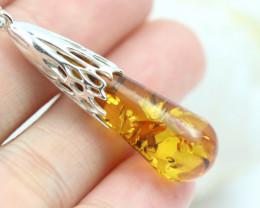 Natural Baltic Amber Sterling Silver Pendant code GI 1284